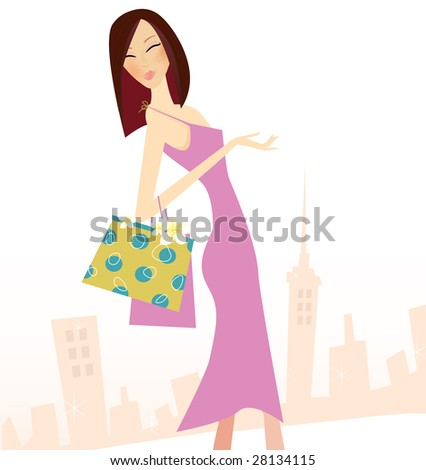 Spring shopping. Woman with shopping bags in town. High detailed vector Illustration.