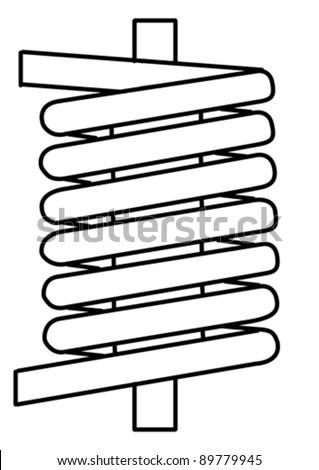 spring silhouette on white background, vector illustration