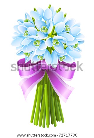 spring snowdrop flowers bouquet with pink ribbon isolated on white background. vector illustration