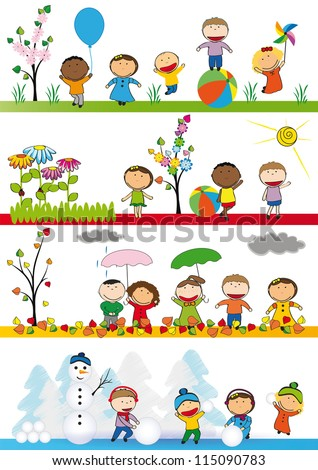 Spring, summer, autumn and winter - happy kids