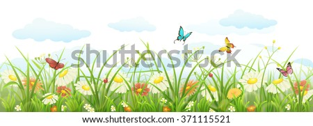 spring summer banner with green