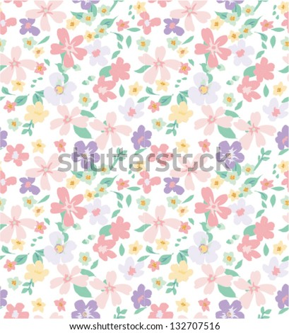 spring summer pastels tiny bloom flower seamless pattern background