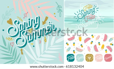Spring Summer poster, banner in trendy 80s-90s Memphis style. Copper metal and gold vector illustration, lettering and colorful design for poster, card, invitation. Easy editable for Your design.