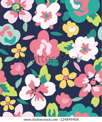 spring summer tiny bloom flower seamless pattern background