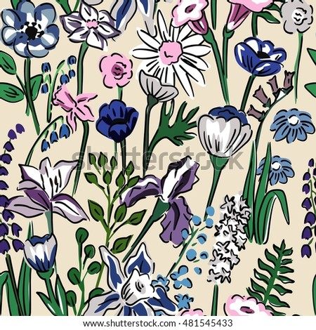Spring sun illustration seamless vector floral pattern collection of wild meadow flowers and herbs hand drawn camomile, bellflower, poppy, cornflower, lupine