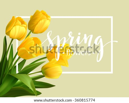 spring text with  tulip flower