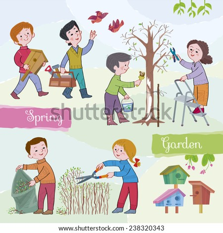 Spring tide-garden.Children (boys and girls) in the spring in a garden. Children paint a tree, cut a bush, the boy bears a starling house.Illustration done in cartoon style.