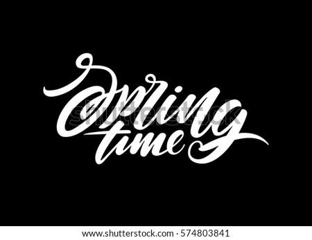 Spring time lettering design. Vector illustration #574803841