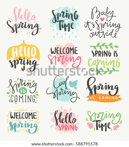 Spring time lettering greeting cards set special springtime sale typography poster in gold black and white colors vector illustration. Spring or summer time handmade text quote