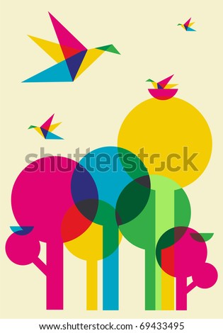 Spring time: multicolored humming birds playing in the forest. Vector file available.