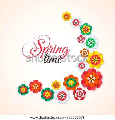 Spring Time. Spring multicolored cutout paper flowers. Spring Flowers Background. Spring Vector Flowers. Spring Flowers Banner. Flowers Isolated. Floral Design Element. Vector Illustration.