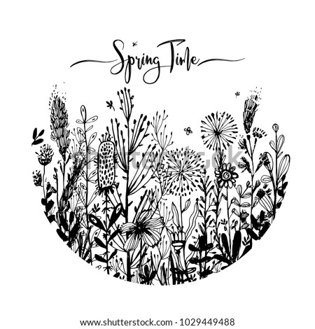spring time wording with hand