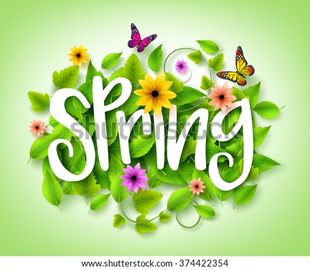 Spring Title Text with Vector Green Leaves in the Background with Colorful Flowers and Butterflies Decoration for Spring Season. 3D Realistic Vector Illustration