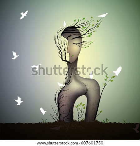 spring tree looks like woman