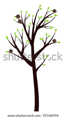 Spring Tree with early leaves and cheerful birds on it
