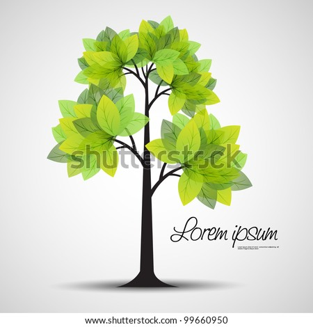 spring tree with green leaves