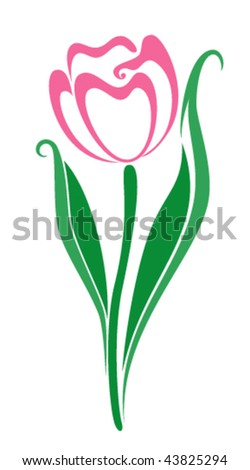 Spring tulip on a white background - stock vector