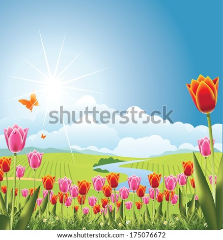 spring tulips with stream and