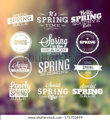 spring typographic design set