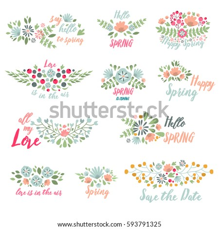Spring Typographic Flower Design Vector Elements With Spring Quotes