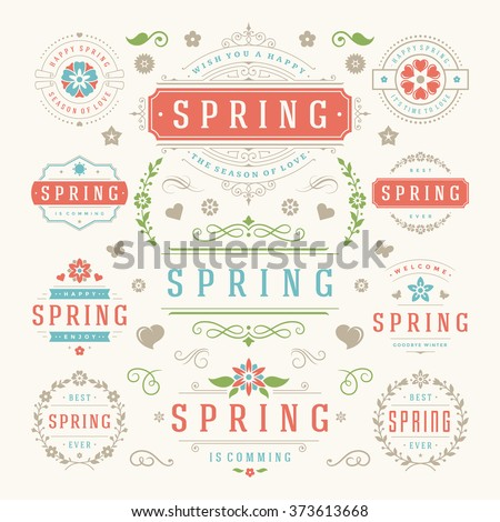 spring typography labels and