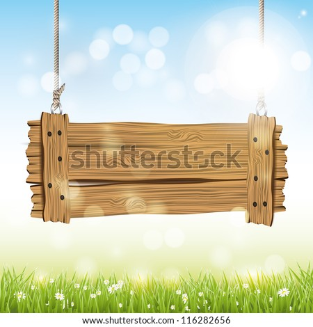 Spring vector background with wooden sign - stock vector