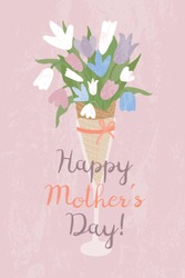Spring vector handdrawn illustration with bouquet of spring flowers and lettering Happy Mother's day. Greeting card for Mother's day. Vector Illustration