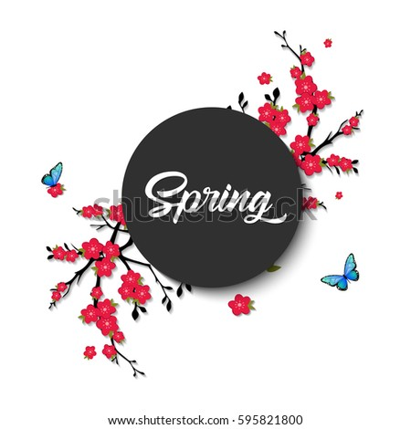spring vector lettering with