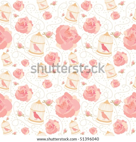 Spring vector pattern with rose and bird cage