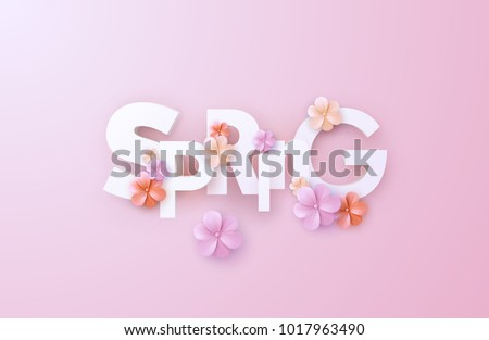 Spring. Vector realistic 3d illustration. Paper cut spring banner. Cutout letters with colorful paper flowers on soft pink background. Trendy typographic poster design. Origami style