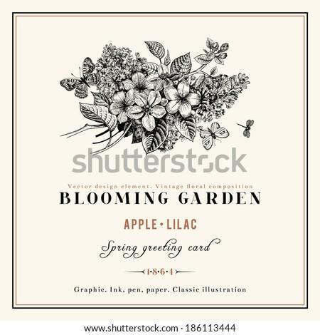 spring vector vintage floral...