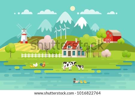 Spring Village landscape, Eco living.Vector illustration.