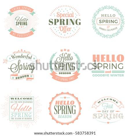Spring vintage typographic badges. Vector illustration. Hello Spring. Greeting card design
