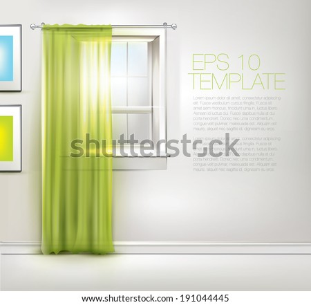Spring window with green curtains. Editable EPS 10 vector template.