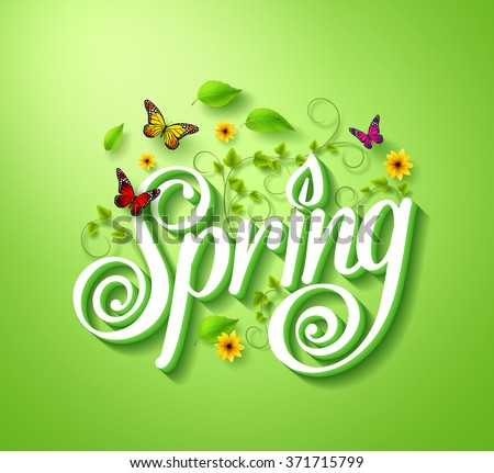 spring word typography concept
