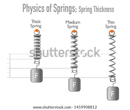Springs, Fineness, thickness. Hooke's low, spring. Fine wire spring, thick wire spring Flexible metal spiral springs. Flexion of three springs by thickness White background. Physical education, Vector