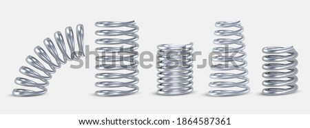 Springs metal straight, tapered, conical, short, long realistic set. Compressed coils, spirals. Repair spare parts, flexible supplements. Vector springs isolated on white background.