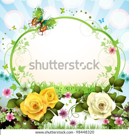 Springtime background with butterflies and roses