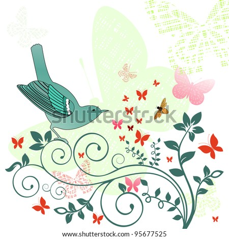 Springtime bird - stock vector