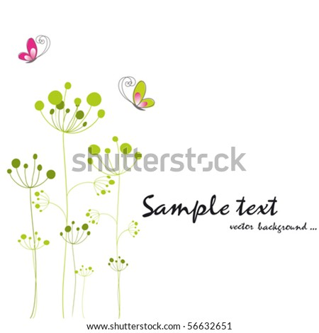 Springtime colorful butterfly floral greeting card