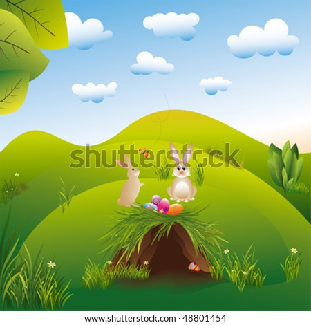 Springtime easter holiday landspace hares in the wonderland - stock vector