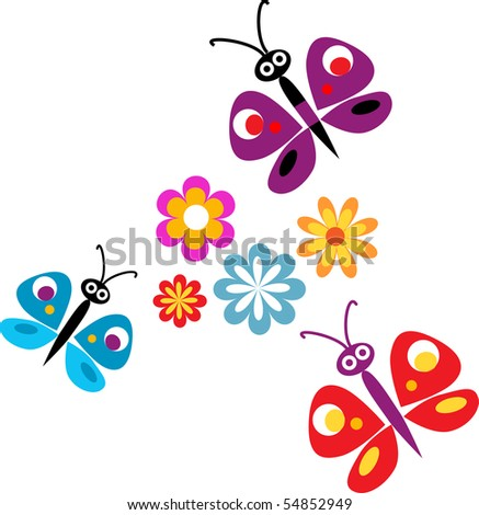 Springtime flowers and colorful butterflies