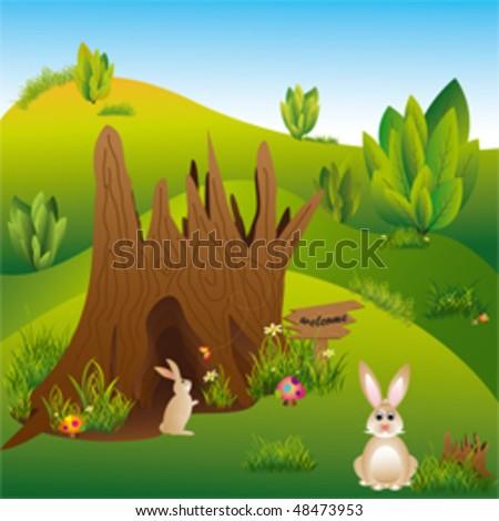 Springtime landscape easter holiday hares in the wonderland
