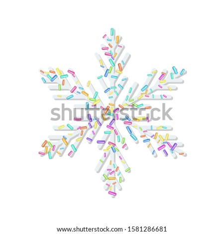 Sprinkle with grains of desserts. Sprinkled grainy abstract snowflake on white background. Design for holiday designs, party, birthday, invitation.Sprinkled grainy using rainbow colors. Vector
