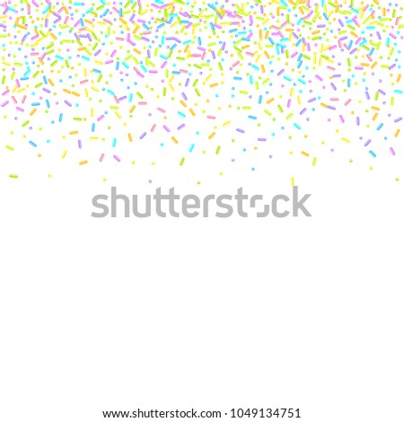 Sprinkles grainy. Sweet confetti on white chocolate glaze background. Cupcake, donuts, dessert, sugar, bakery background. Vector Illustration for holiday designs, party, birthday, wedding invitation.