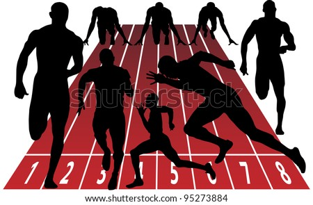 sprint silhouette - stock vector