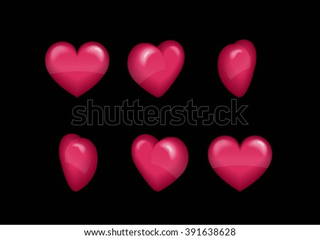 Sprite sheet effect animation of a spinning puffy heart sparkling and rotating for video effects