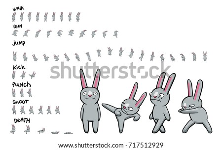 Sprite sheet of cartoon character. Pack of actions. Loop animation of walk and run. Animation for game or cartoon.