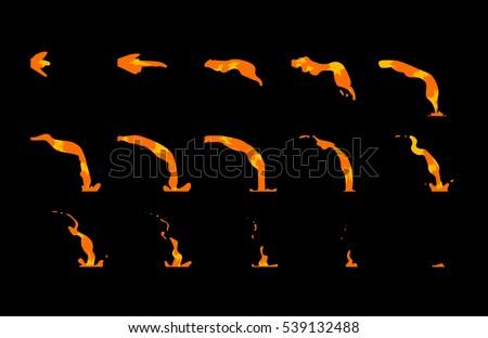 sprite sheet of falling lava  a