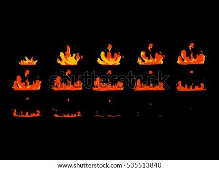 sprite sheet of lava splashes